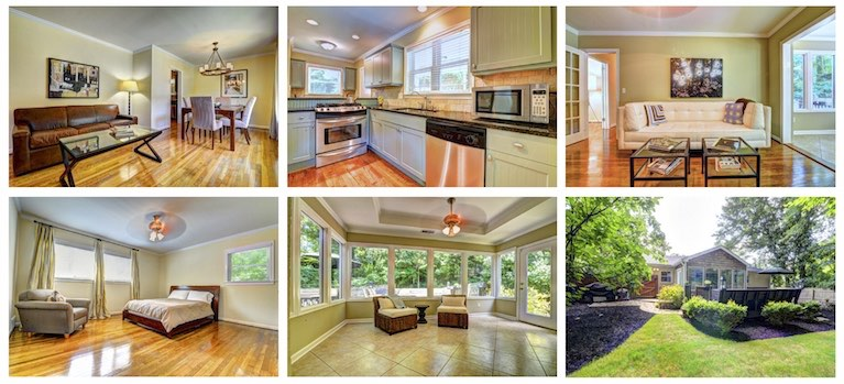 Beautiful photos of the living/dining room, kitchen, den, sunroom, master bedroom, and backyard.