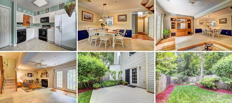 Interior and exterior photos, including the kitchen, living/dining with fireplace, and backyard.