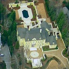 An overhead view of the large estate home located at 4701 Northside Drive NW.