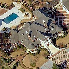 An overhead view of the luxury estate at 5200 Moore Road in Suwanee.