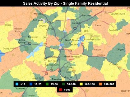 Metro Atlanta market trends map with sales activity by zip code.