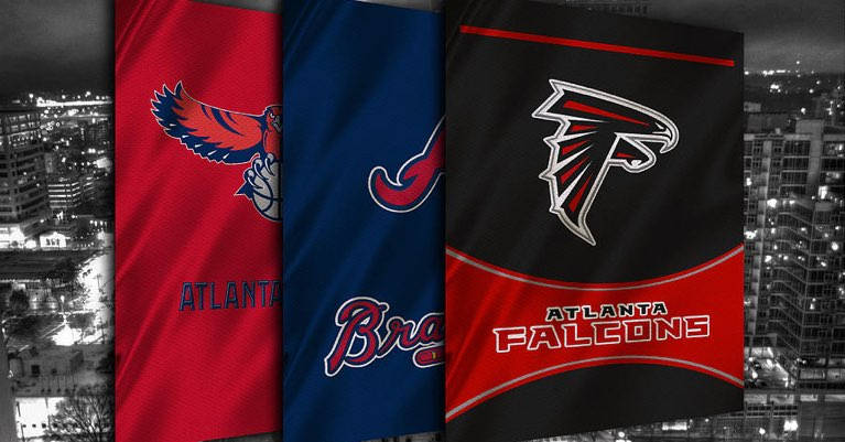 Banner image with Atlanta Hawks, Falcons, and Braves team logos.