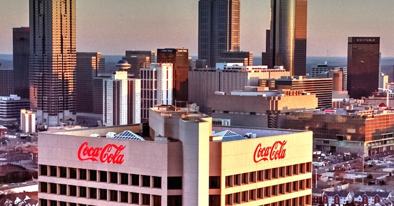Downtown Atlanta skyline with the Coca-Cola building & headquarters of other fortune 500 companies.