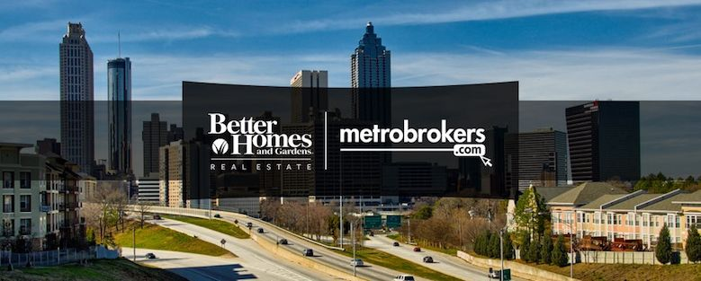 Better Homes and Gardens Real Estate logo over Metro Atlanta skyline.