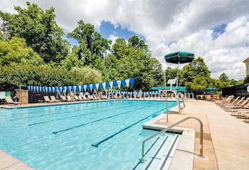 The community pool and amenities at The Falls of Autry Mill.