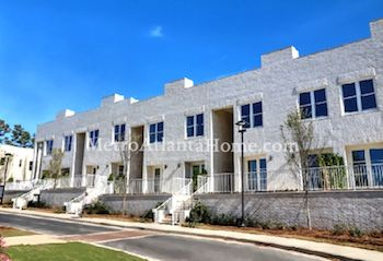 A row of luxury modern townhomes at Avalon.