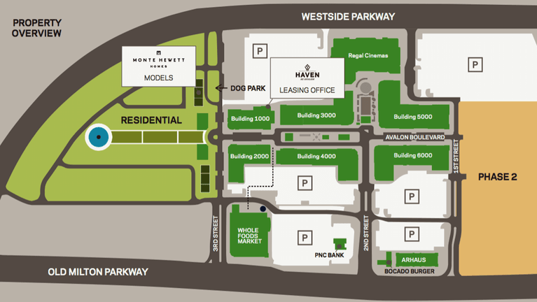 Property overview map of Avalon, a mixed-use development in Alpharetta.