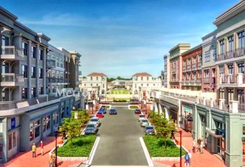 A view of the retail shops, restaurants, and apartment homes at Avalon.