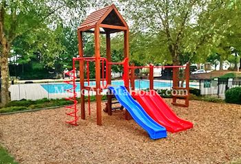 The Avensong neighborhood amenities, including a playground and swimming pool.