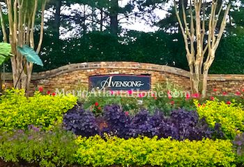 The entrance sign outside the Avensong neighborhood in Alpharetta.