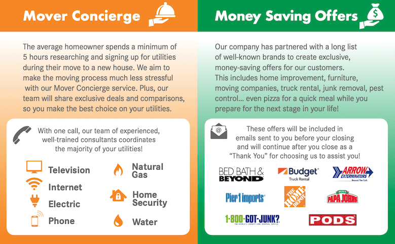 BHGRE mover concierge program and money saving offers for clients.