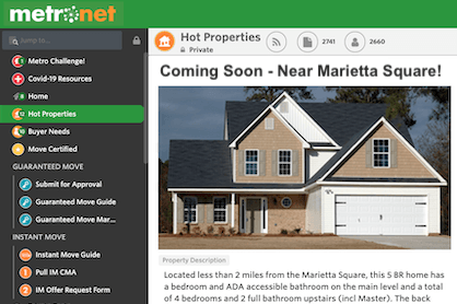 "A hot property advertised as ""coming soon"" on the BHGRE Metro Brokers MetroNet."