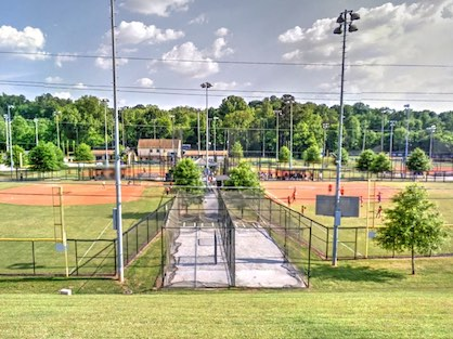 The softball fields at Murphey Candler Park in Brookhaven, GA.