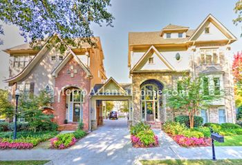 A row of luxury townhomes at Brookhaven Village.