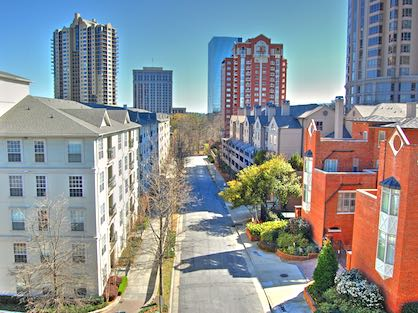 A quiet neighborhood of condos and townhomes located near Phipps Plaza.