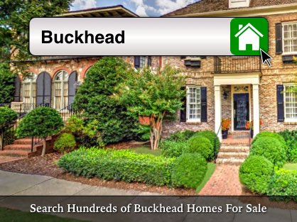 Large brick townhomes with a Buckhead home search bar overlay.