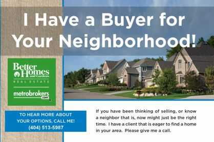 A postcard advertising a buyer client looking to purchase in a neighborhood.