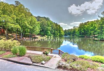 A view of the lake at Chimney Lakes in Roswell, GA.