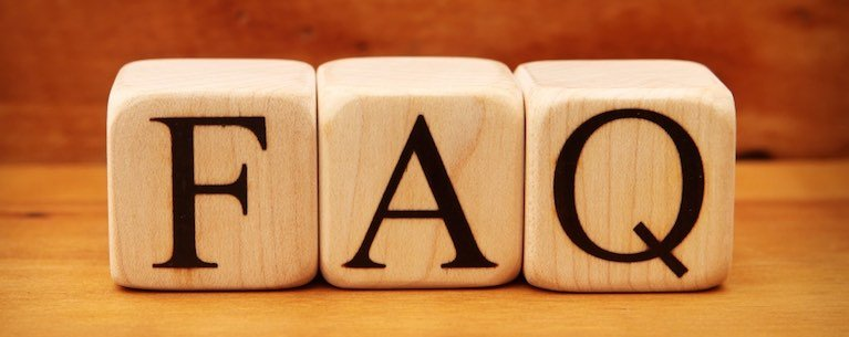 Wooden blocks that spell FAQ, frequently asked questions.