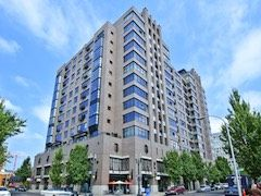 High rise luxury condos with retail shops and great city views.
