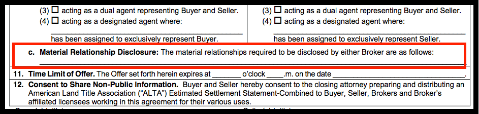 Language from the purchase and sale agreement disclosing any relationships between parties.