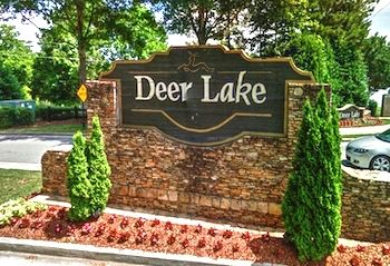 The entry sign to the Deerlake neighborhood in Alpharetta, GA.