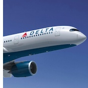 Delta Airlines airplane with company logo.