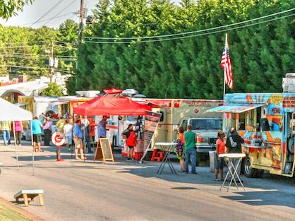 Food truck event on the streets of Doraville.
