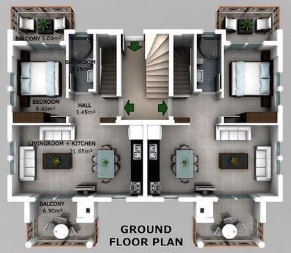 First level floor plan of a duplex style home.