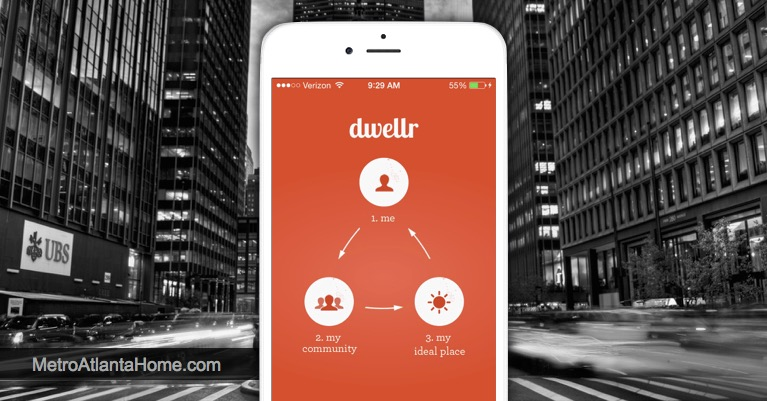 Dwellr app welcome screen on white iPhone in front of city background.