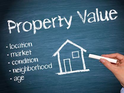 Factors that impact a home's value, hand written on a chalk board.