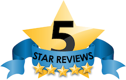 Five star review text over a blue ribbon and gold star.