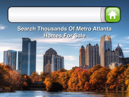 Home search box with Atlanta city skyline in the background.
