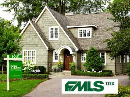 Gorgeous Atlanta home with BHGRE Metro Brokers yard sign and FMLS IDX logo.