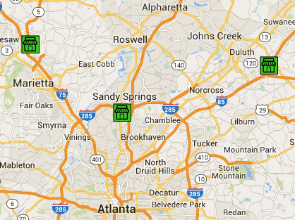 Google map with all three Metro Atlanta store & office locations.