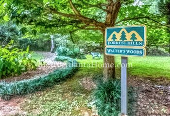 A sign at the entrance of Walter's Woods in the Forrest Hills neighborhood.