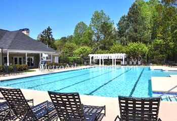 The neighborhood pool and clubhouse at Foxhall in Roswell, GA.