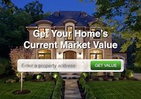 Atlanta home with property value search bar and report link.