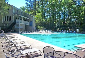 The neighborhood pool and community clubhouse at Hanarry Estates.