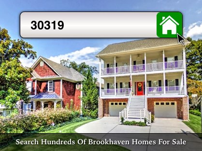Houses in Brookhaven, GA 30319 with search box overlay.