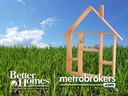 BHGRE Metro Brokers logo with a house and key sitting in the grass.