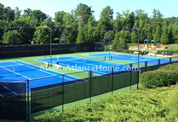 The tennis courts and community amenities at Lakeside At Ansley in Roswell, GA.