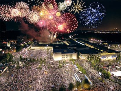 Fireworks exploding over Lenox Square Mall during the annual 4th of July celebration.