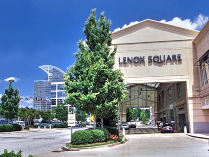 The Lenox Square Mall front entry with valet parking.