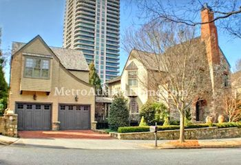 Homes in the Longleaf neighborhood with the Buckhead skyline in view.