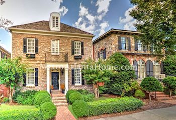 Two-story brick homes in Buckhead's Longleaf neighborhood.