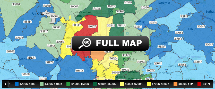 A color coded map showing the median sale price of homes in Metro Atlanta by zip code.