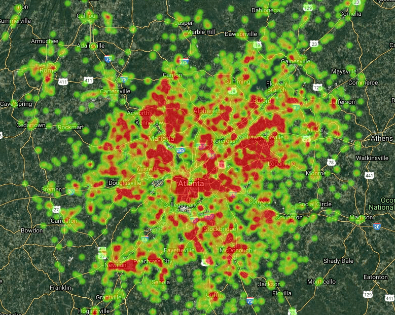 A heat map Metro Atlanta showing our team's recent sales and coverage territory.