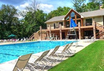 The neighborhood pool and clubhouse at Martins Landing in Roswell, GA.