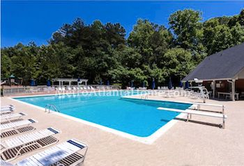 The neighborhood swimming pool and amenities at Mayfair in Johns Creek.